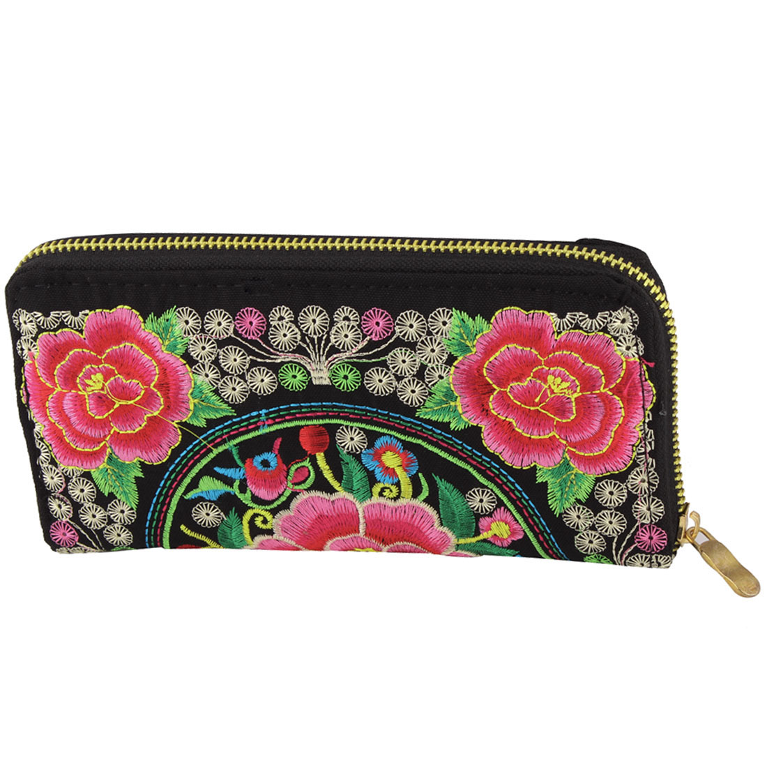 Women Embroidered Flower Zipper Closure Money Wallet Purse Handbag Black Pink