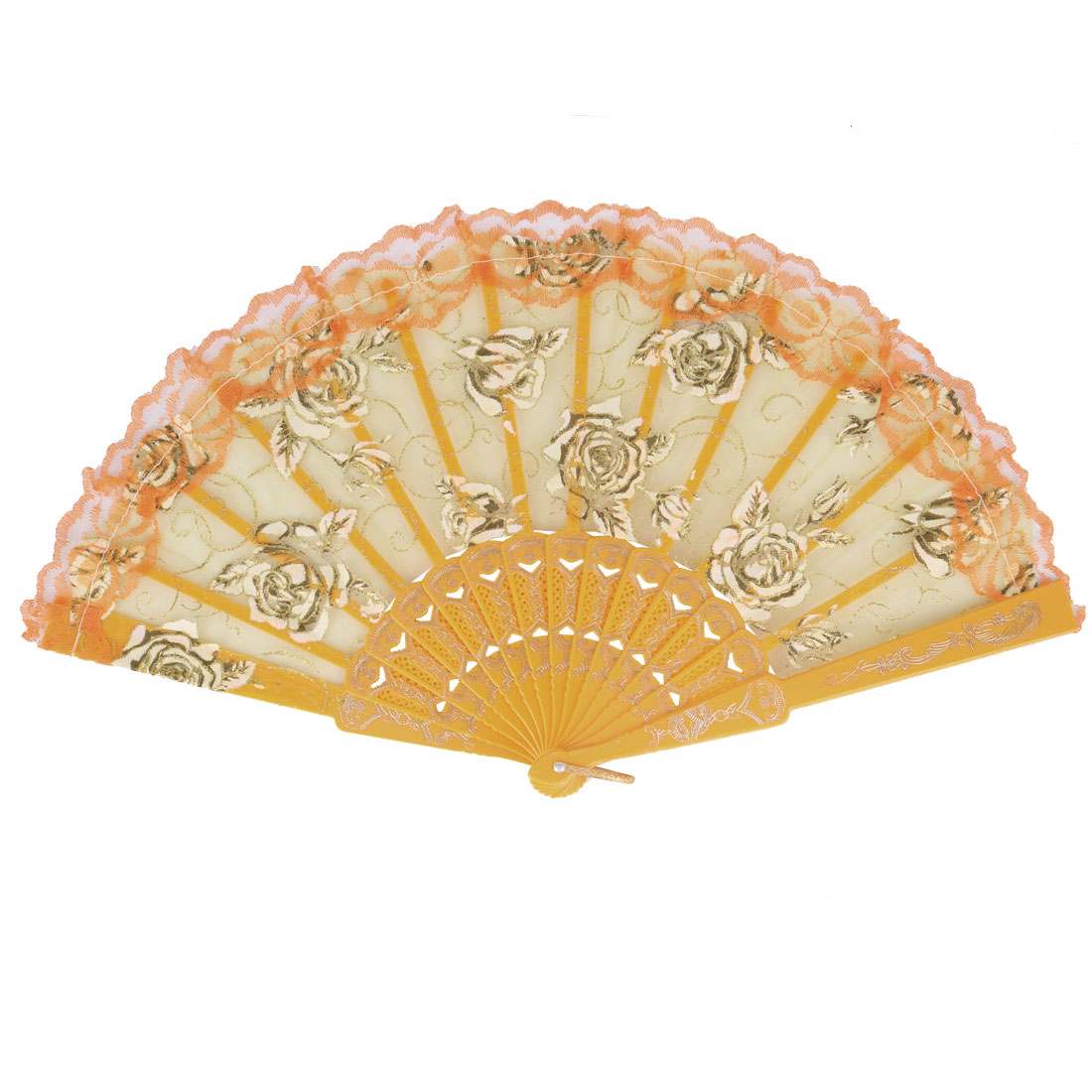 Plastic Handle Chinese Style Floral Lace Decor Dancing Folding Hand Fan Yellow Gold Tone