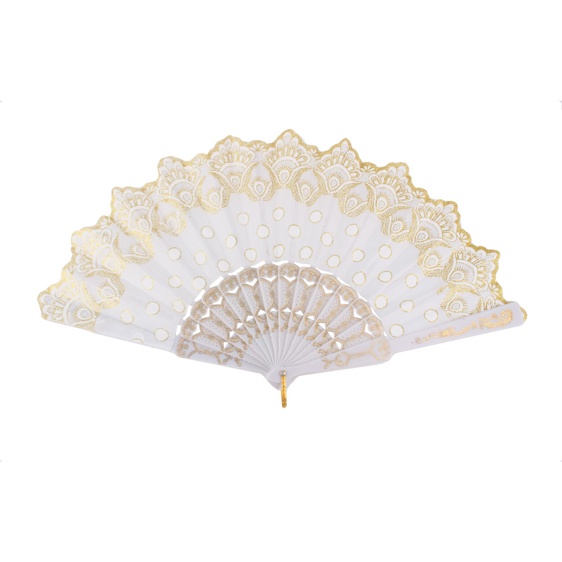 Plastic Frame Chinese Style Round Dot Pattern Folding Hand Fan White Gold Tone