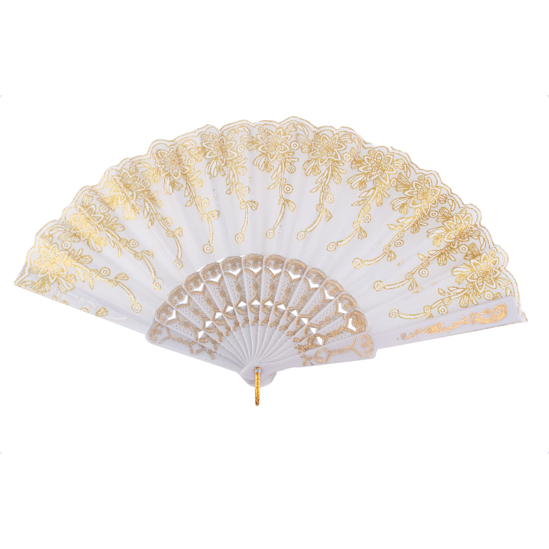 Dancing Wedding Chinese Style Flower Pattern Folding Hand Fan Gold Tone White