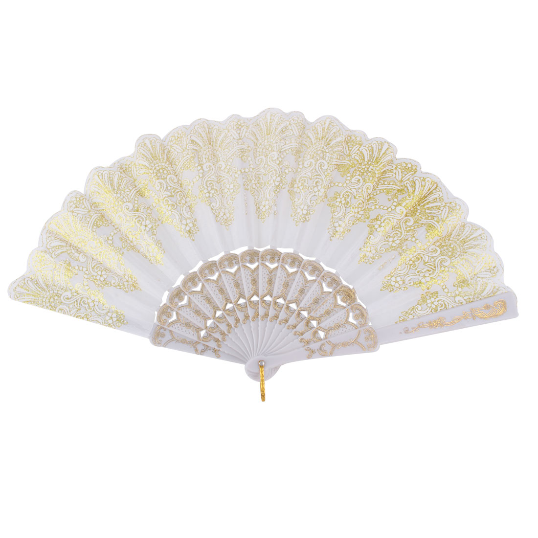 Plastic Frame Chinese Style Dancing Folding Hand Fan Gold Tone White
