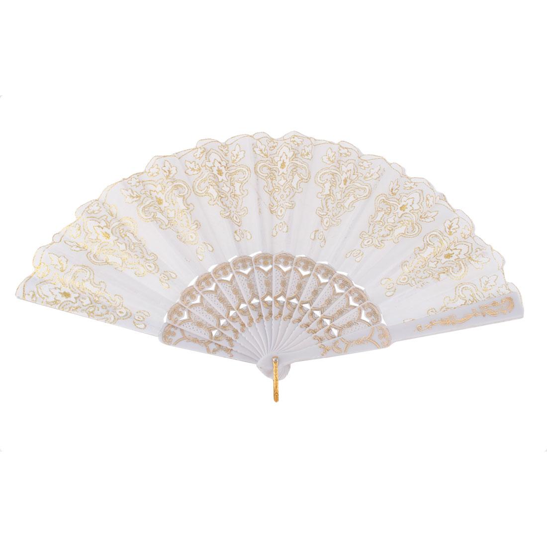 Dancing Chinese Style Flower Pattern Folding Fan Gold Tone White