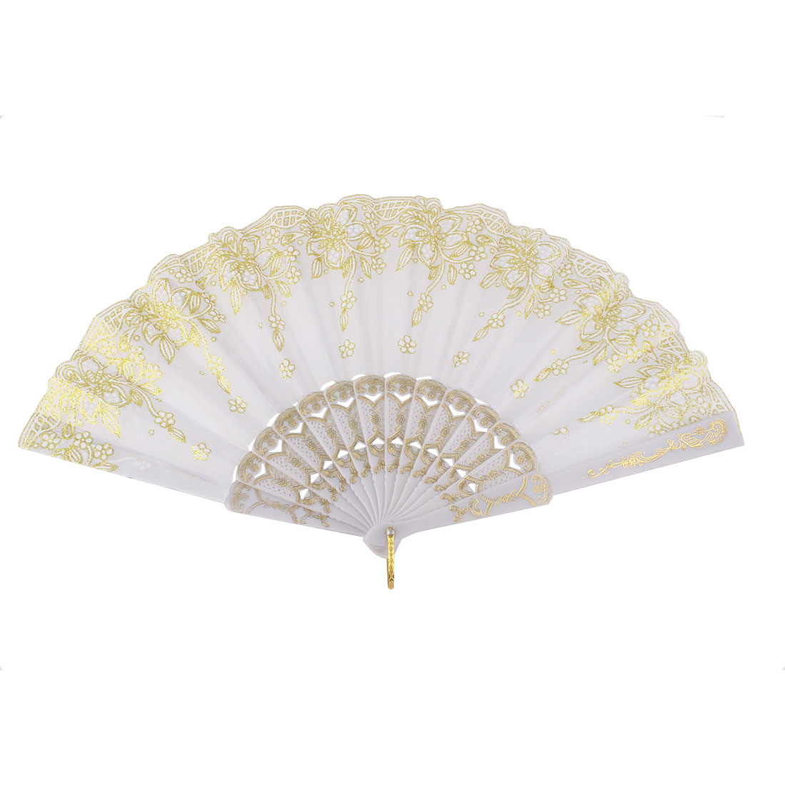 Plastic Frame Chinese Style Floral Pattern Folding Hand Fan White Gold Tone