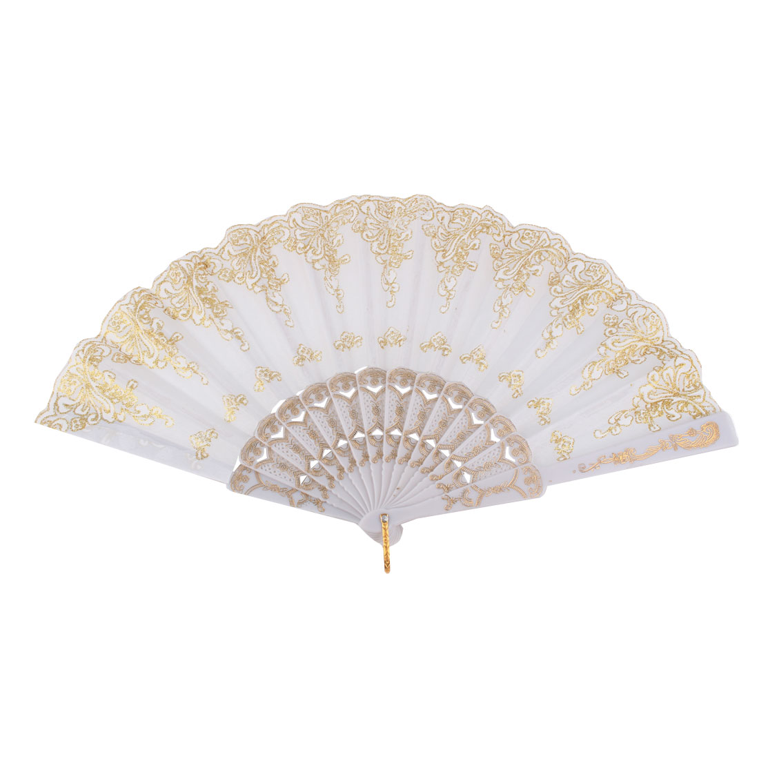 Dancing Wedding Chinese Style Leaf Pattern Folding Hand Fan Gold Tone White