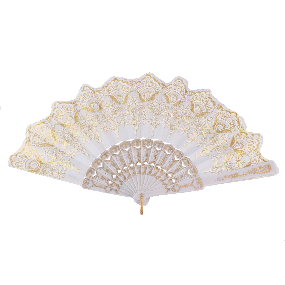 Dancing Party Chinese Style Flower Pattern Folding Hand Fan Gold Tone White
