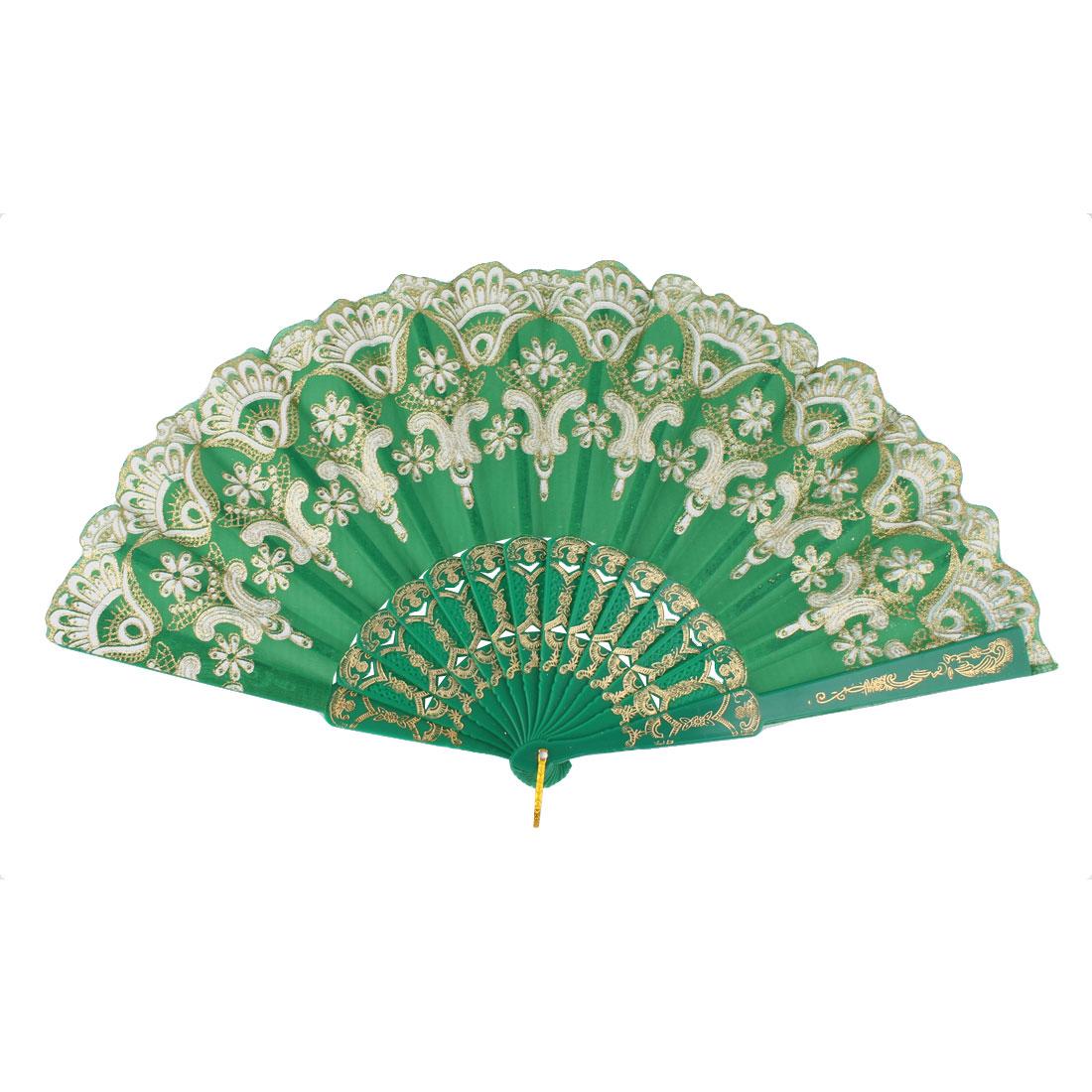Plastic Frame Chinese Style Flower Pattern Folding Hand Fan Green White