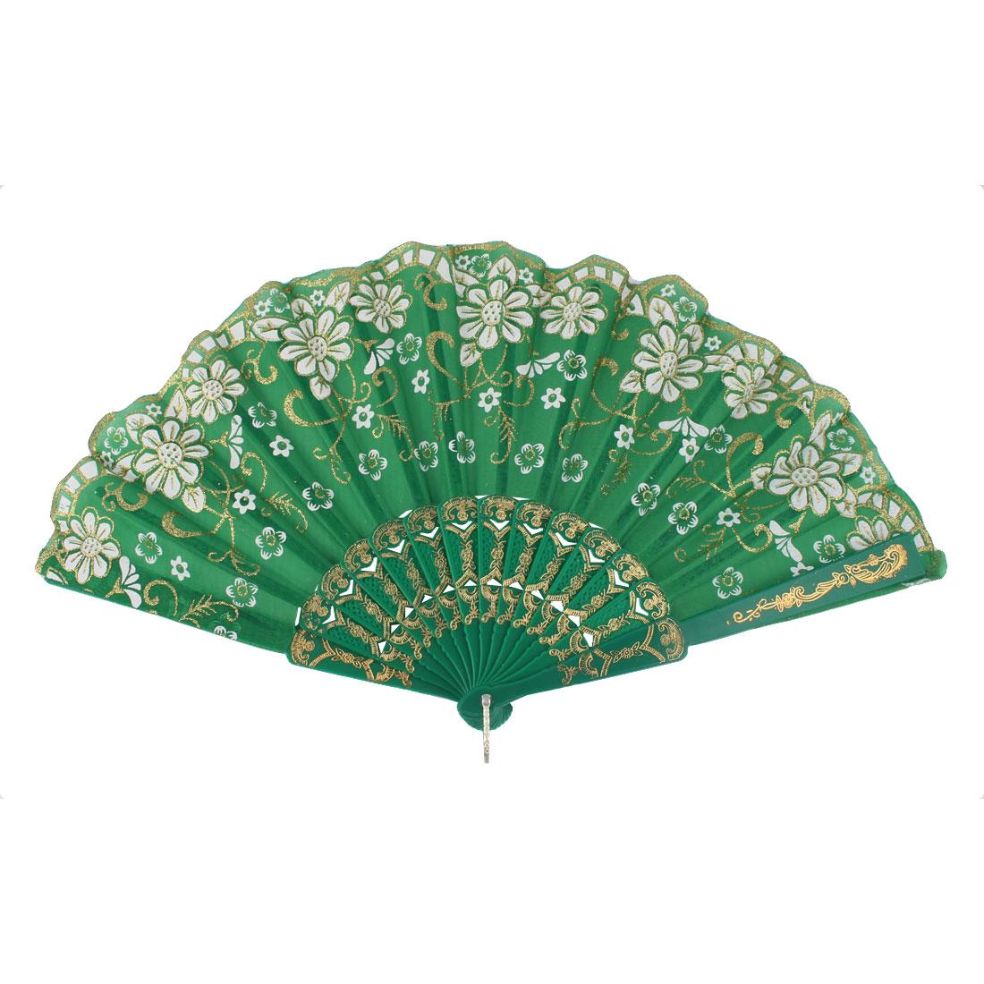 Dancing Wedding Chinese Style Flower Pattern Folding Hand Fan Multicolor