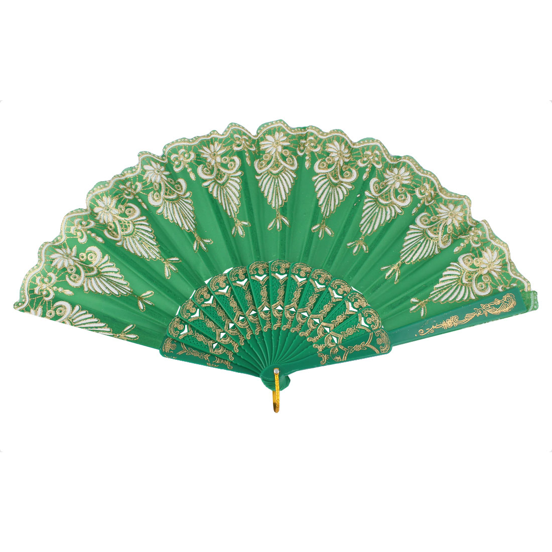 Dancing Wedding Chinese Style Flower Pattern Folding Fan Green White