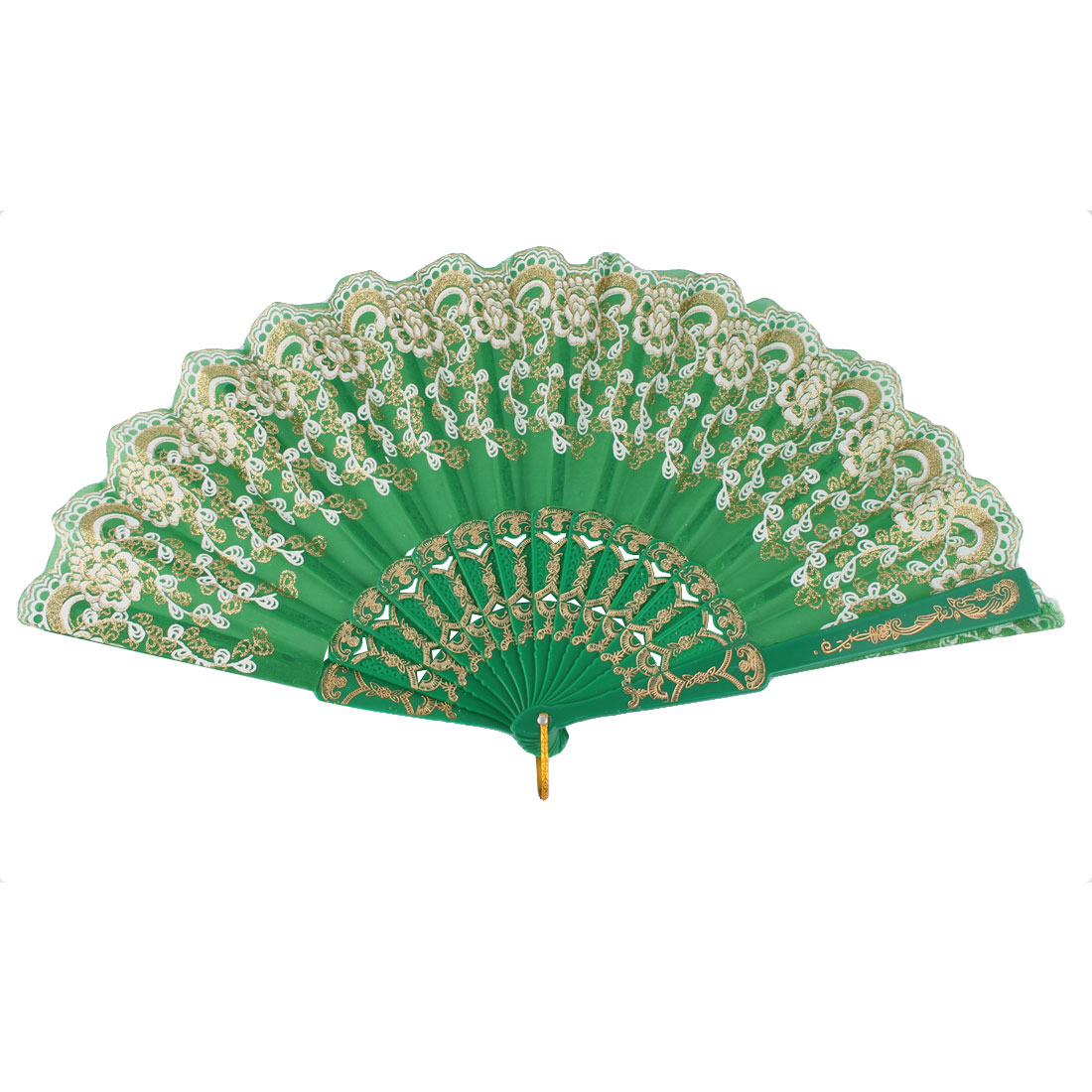 Dancing Wedding Chinese Style Leaf Pattern Folding Hand Fan Green Gold Tone