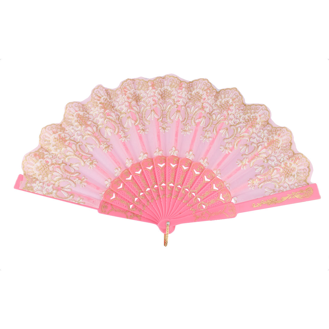Dancing Chinese Style Flower Pattern Folding Hand Fan Gold Tone Pink