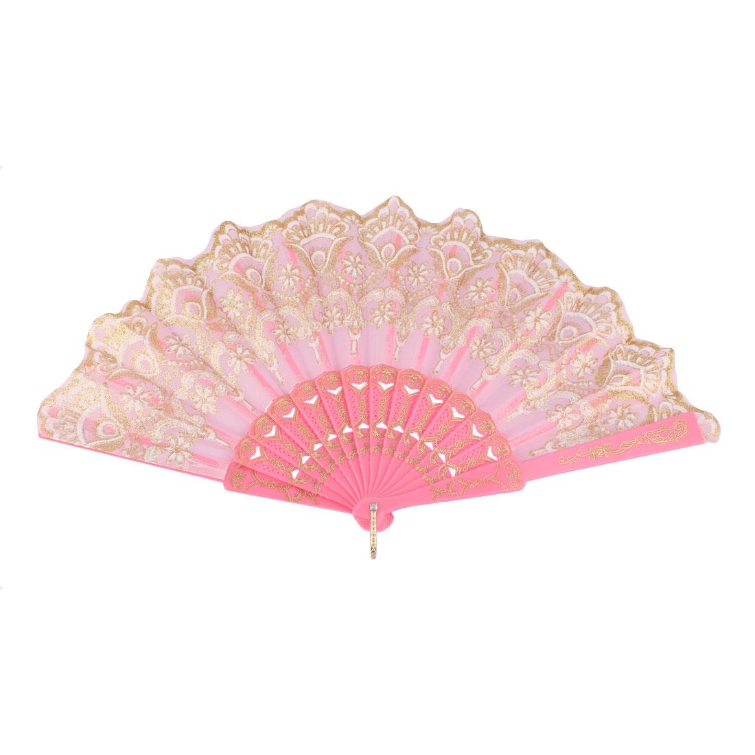 Dancing Wedding Chinese Style Flower Pattern Folding Fan Gold Tone Pink