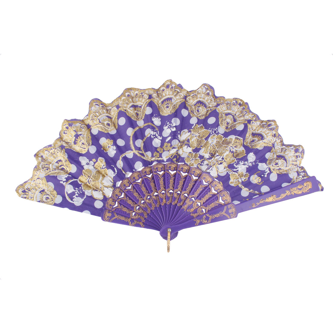 Plastic Frame Chinese Style Flower Pattern Folding Hand Fan Purple Gold Tone