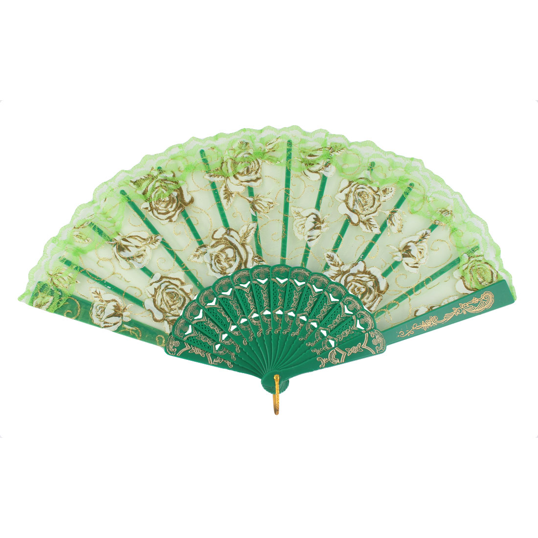 Dancing Wedding Chinese Style Flower Pattern Folding Fan Green Gold Tone