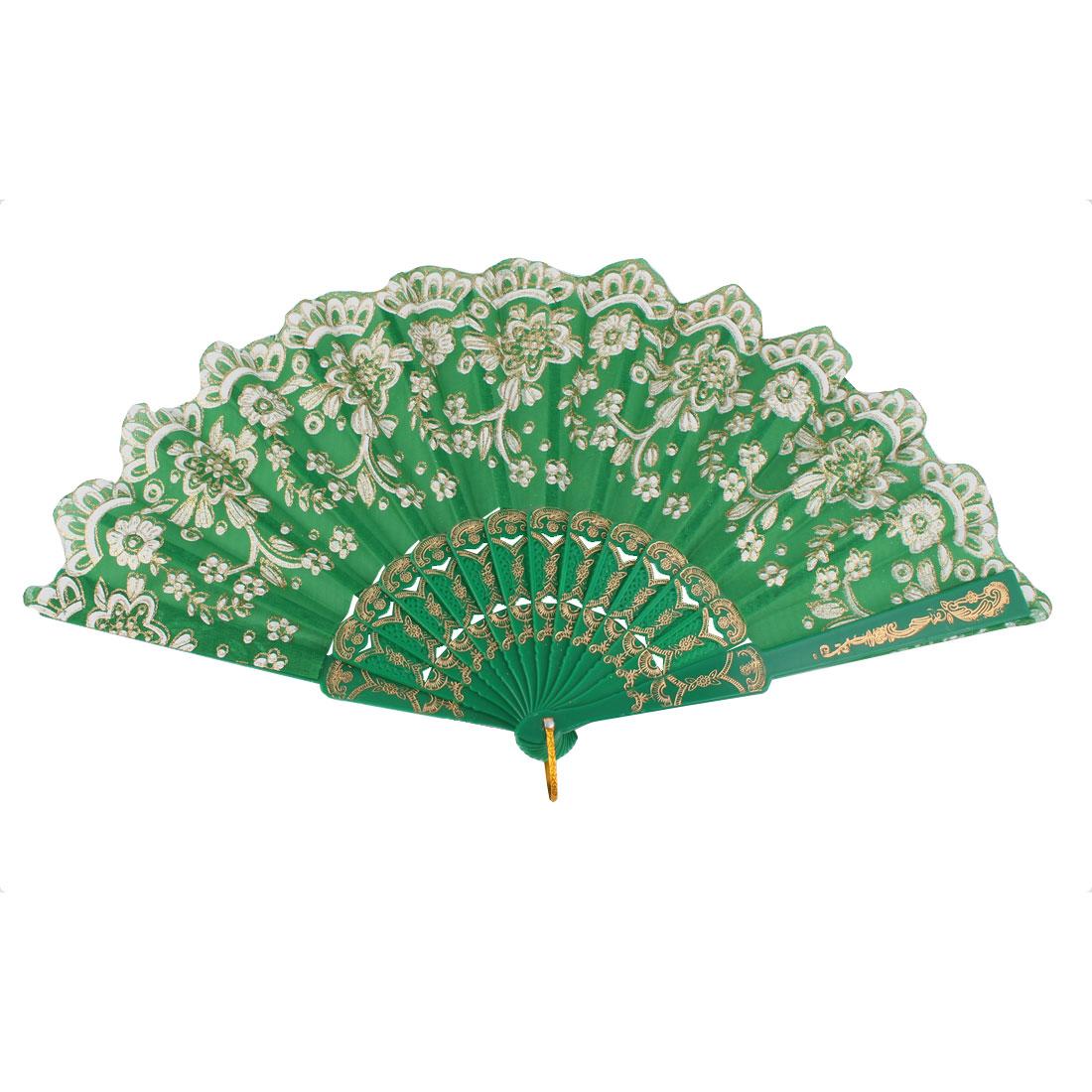 Dancing Wedding Chinese Style Flower Pattern Folding Hand Fan Green White