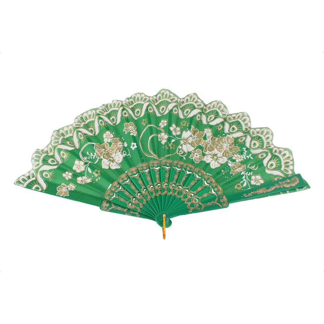 Dancing Wedding Chinese Style Flower Pattern Folding Fan Gold Tone Green