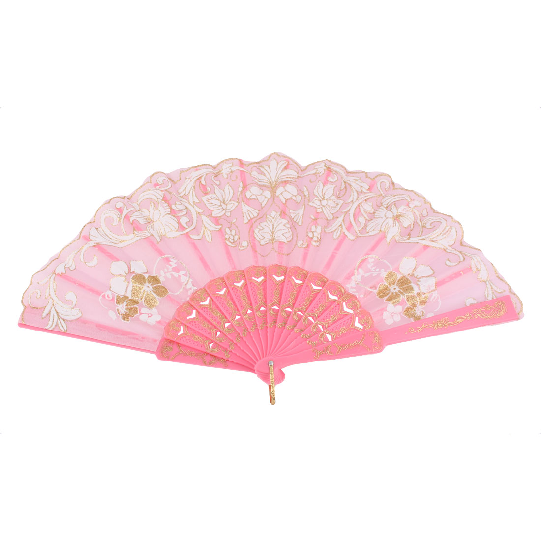 Dancing Wedding Chinese Style Flower Pattern Folding Hand Fan White Pink