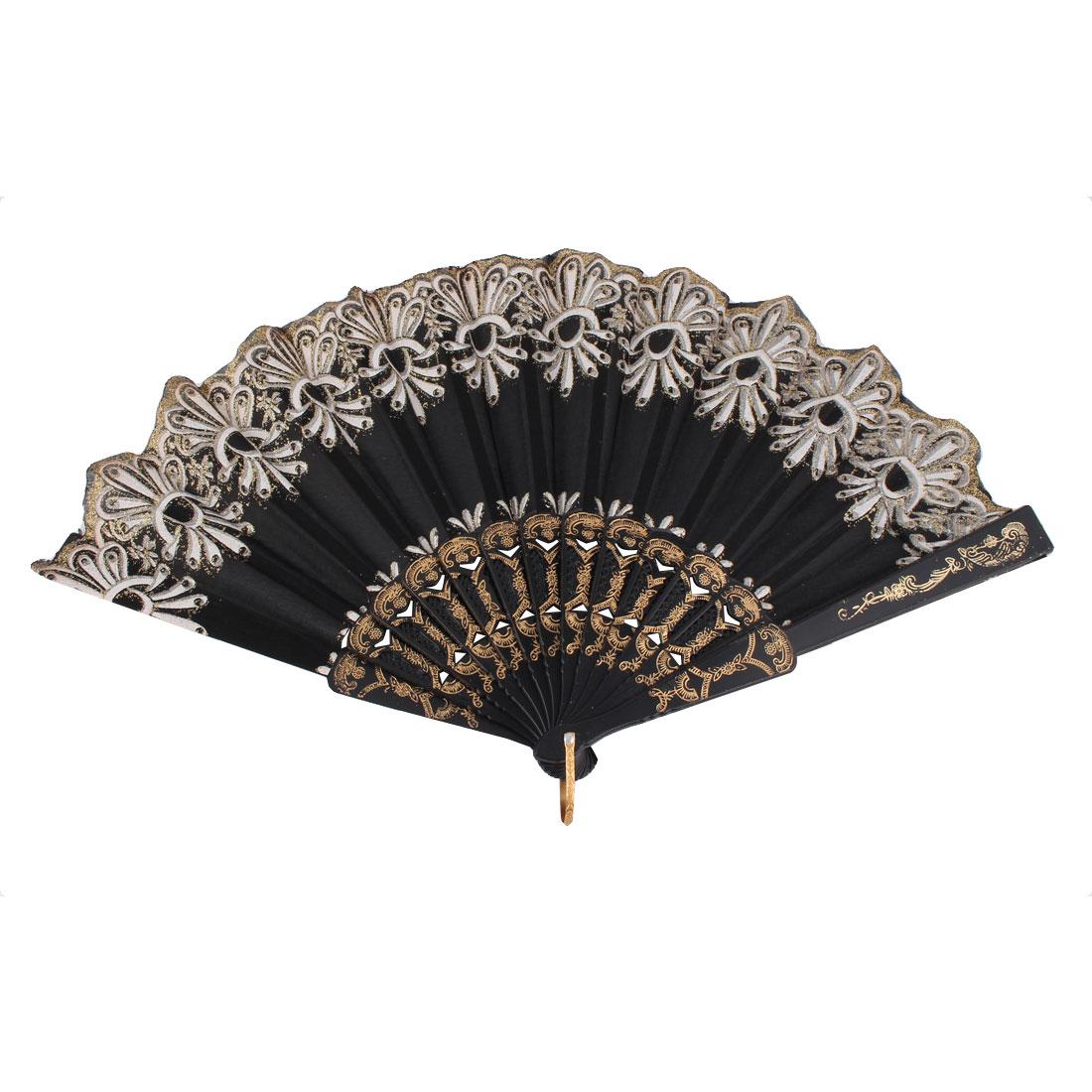 Dancing Chinese Style Flower Pattern Folding Hand Fan Black White