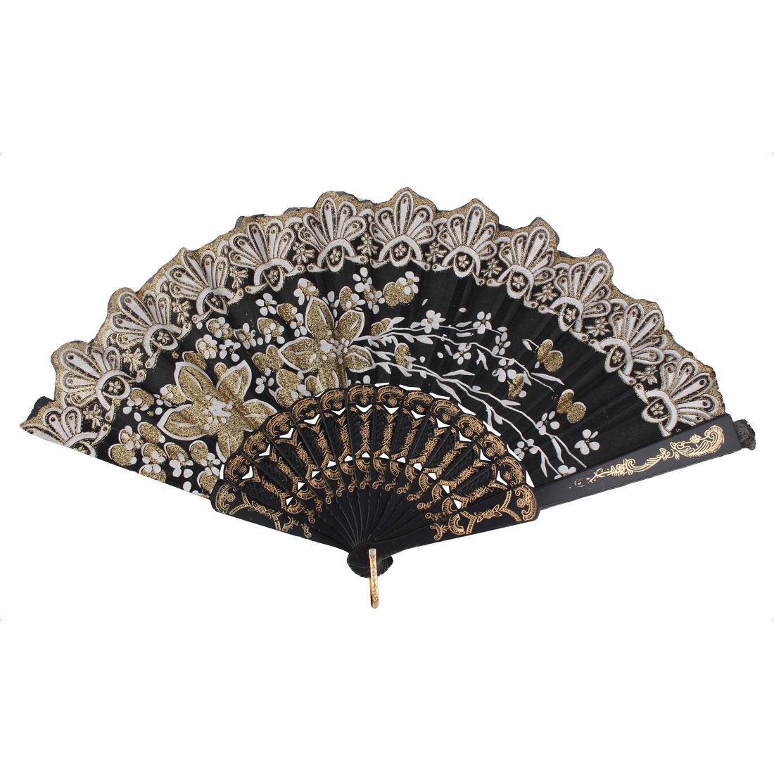 Dancing Wedding Chinese Style Flower Pattern Folding Hand Fan Gold Tone Black