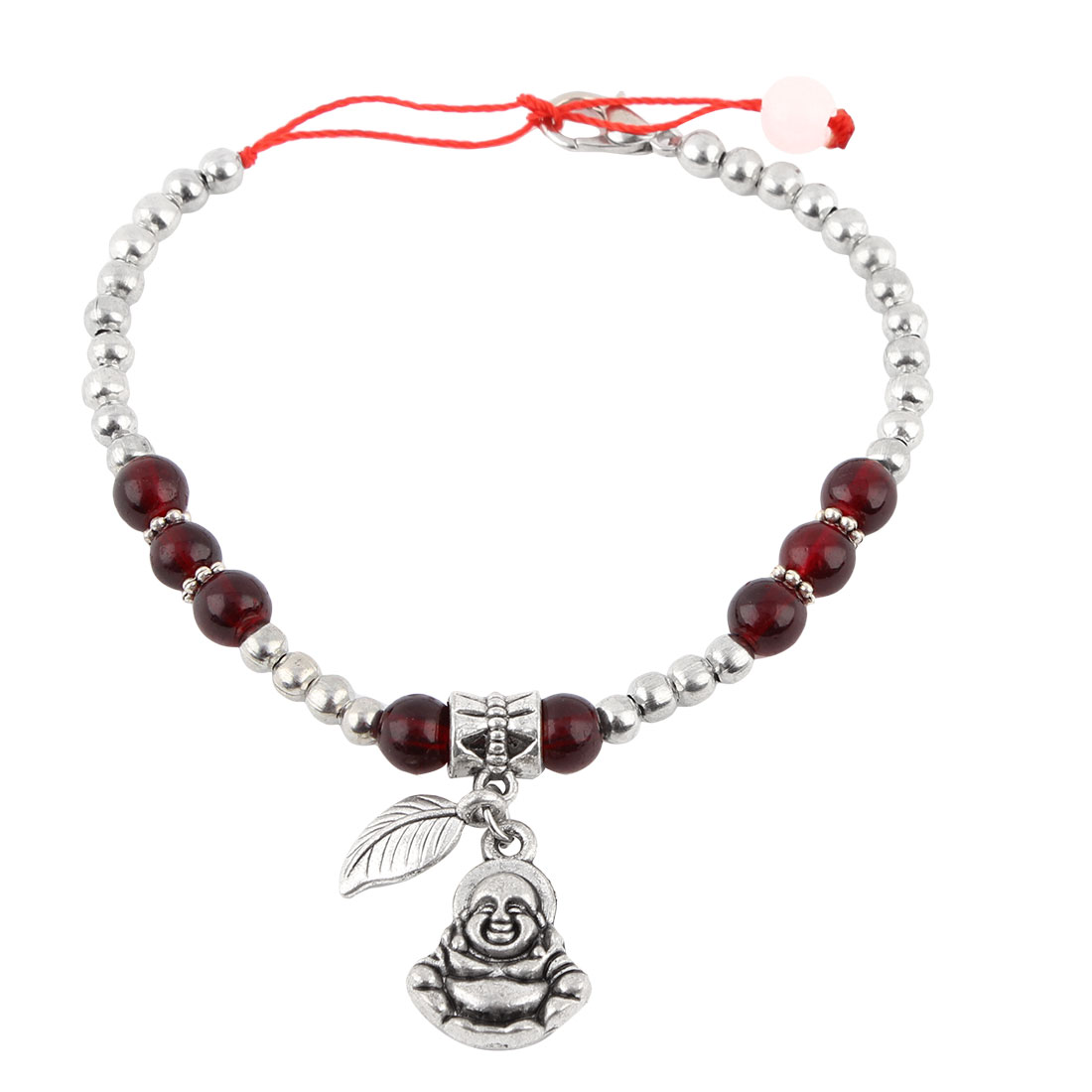 Metal Buddha Shaped Pendant Foot Chain Anklet Silver Tone Carmine for Women