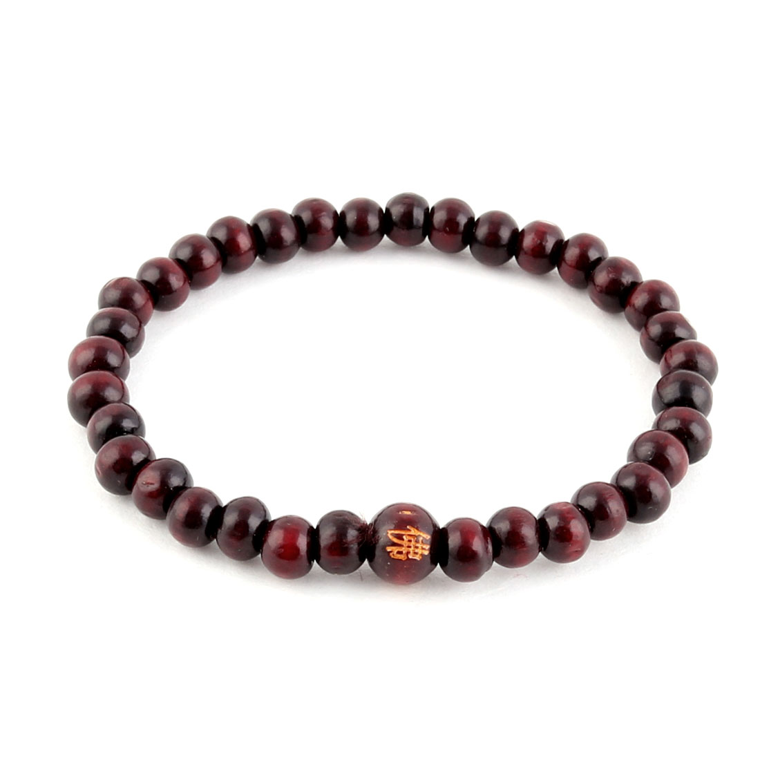 Women Man Wood Elastic Beads Decor Buddhist Buddha Prayer Bracelet Brown
