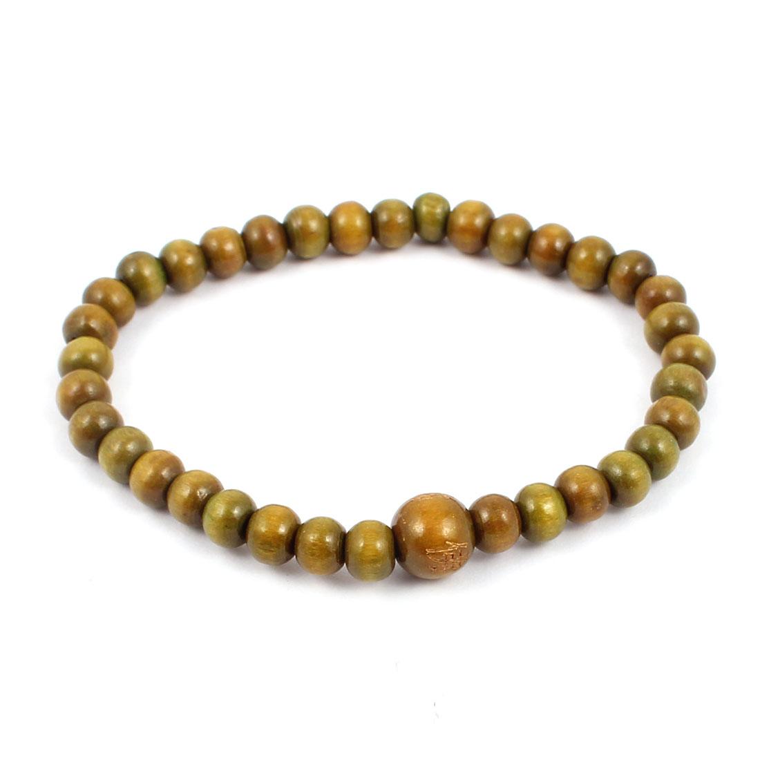 Unisex Wood Elastic Wrist Buddha Pray Beaded Bangle Bracelet Green