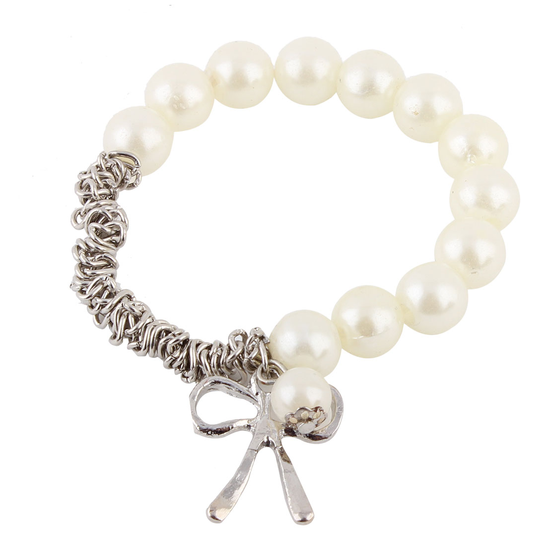 Women Imitation Pearl Decor Metal Pendant Elastic Wrist Bracelet White Silver Tone
