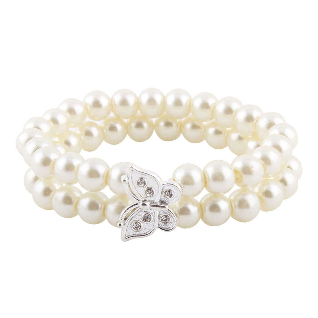 Women Jewelry Imitation Pearls Beads Butterfly Shaped Elastic Wrist Bracelet White