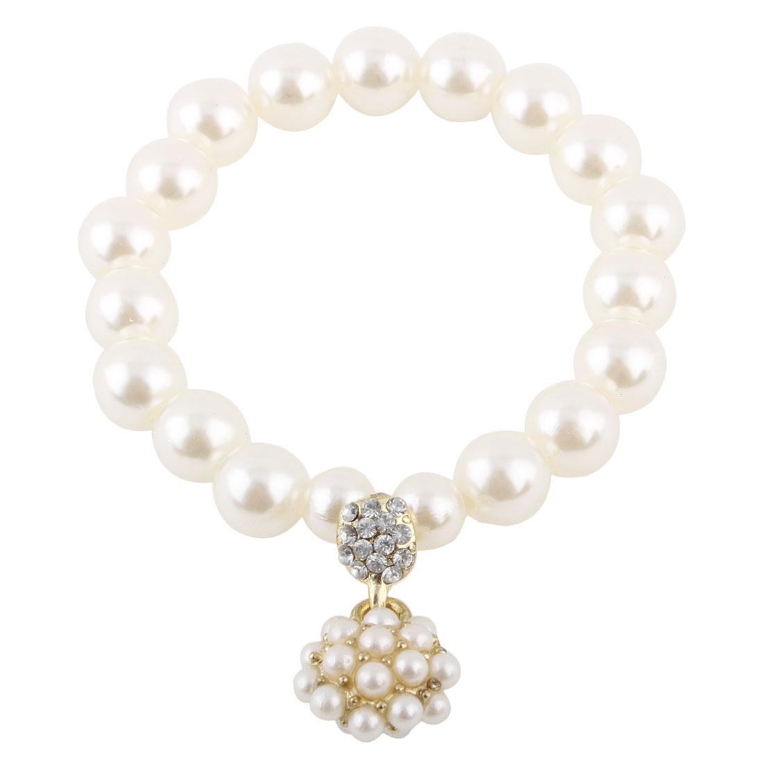 Women Jewelry Faux Imitation Pearls Beads Decor Elastic Wrist Bangle Bracelet White