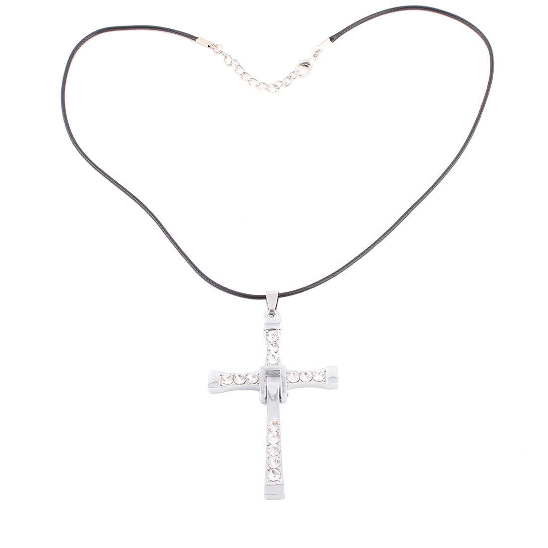 Unisex Metal Pendant Braided Nylon String Cross Shaped Necklace Black Silver Tone