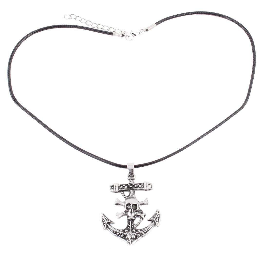 Unisex Metal Pendant Braided Nylon String Skull Shaped Necklace Neck Decoration Black Silver Tone