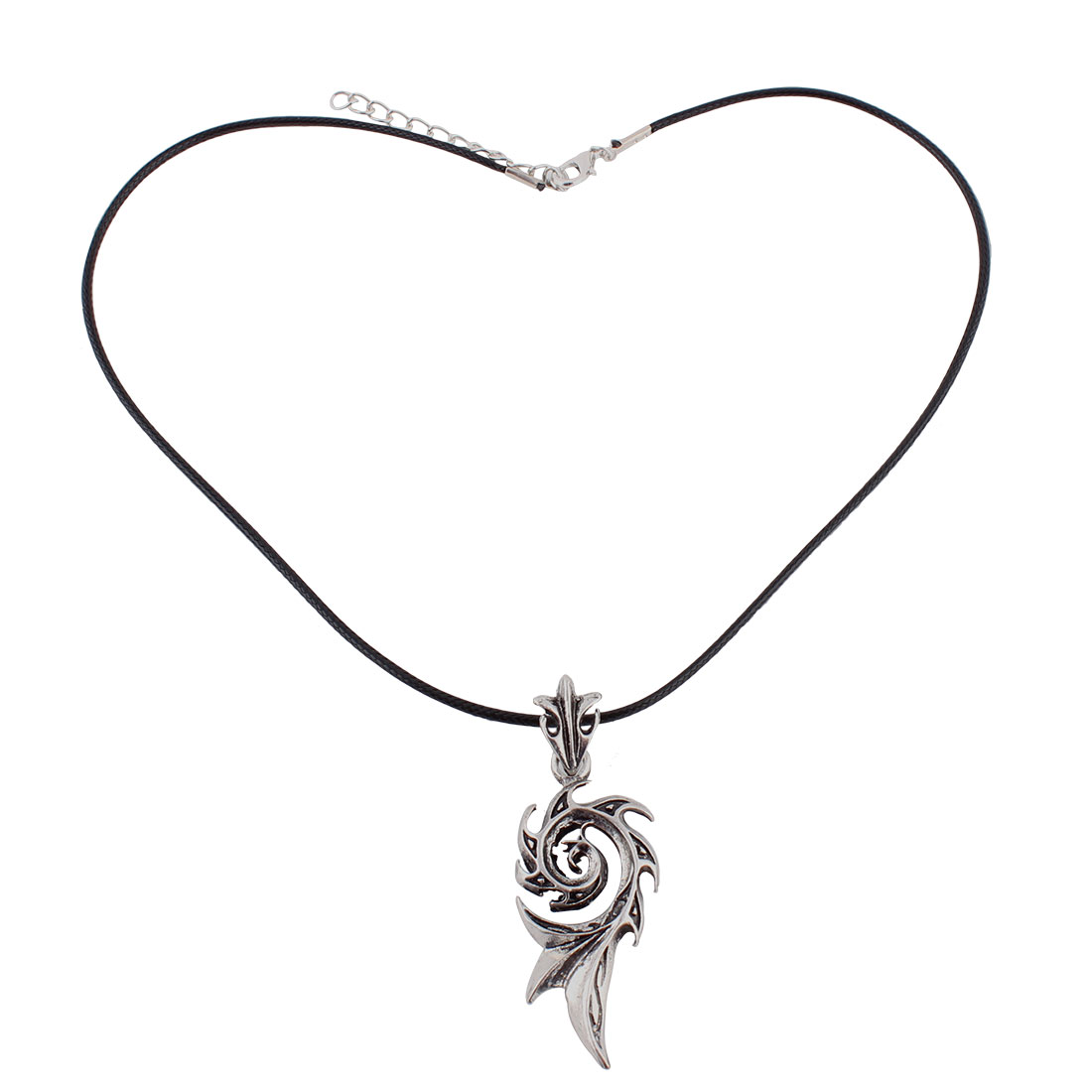 Unisex Metal Flower Shaped Pendant Braided Nylon String Necklace Black Silver Tone