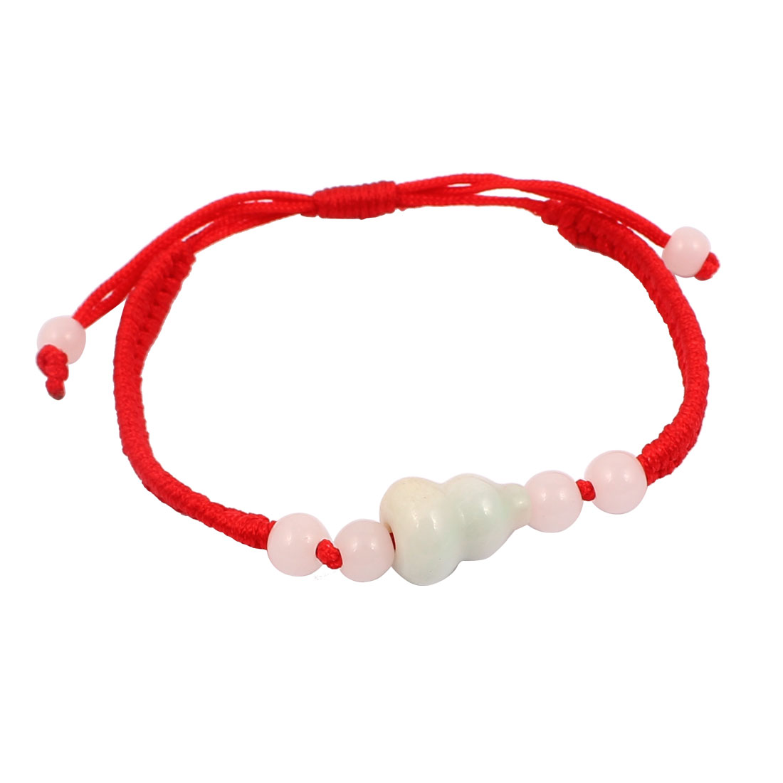 Women Red Handmade Braided Rope Plastic Beads Decor Pull String Wrist Bracelet