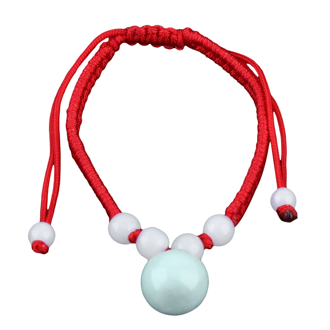 Lady Handmade Braided Rope Plastic Beads Decor String Wrist Bracelet Red