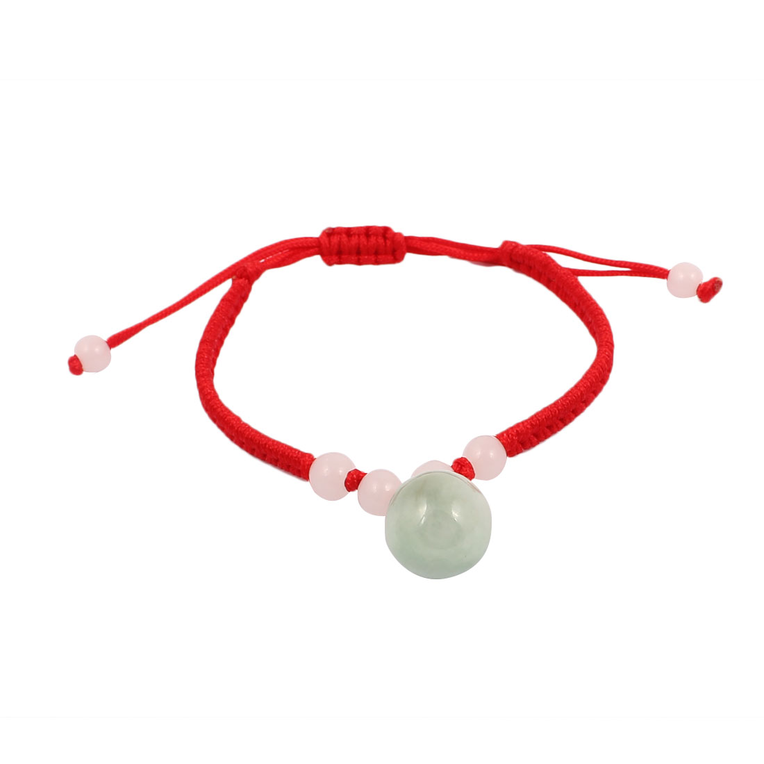 Lady Handmade Braided Rope Plastic Beads Decor Pull String Wrist Bracelet Red Green