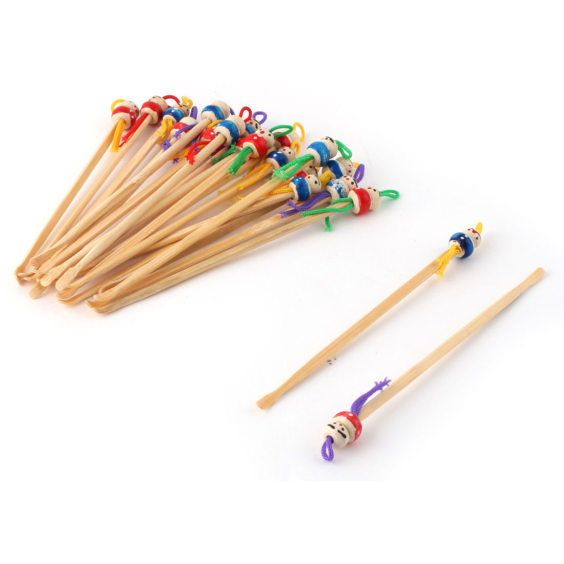 Household Bamboo Japanese Doll Decor Ear Pick Earwax Remove Beige 20 Pcs