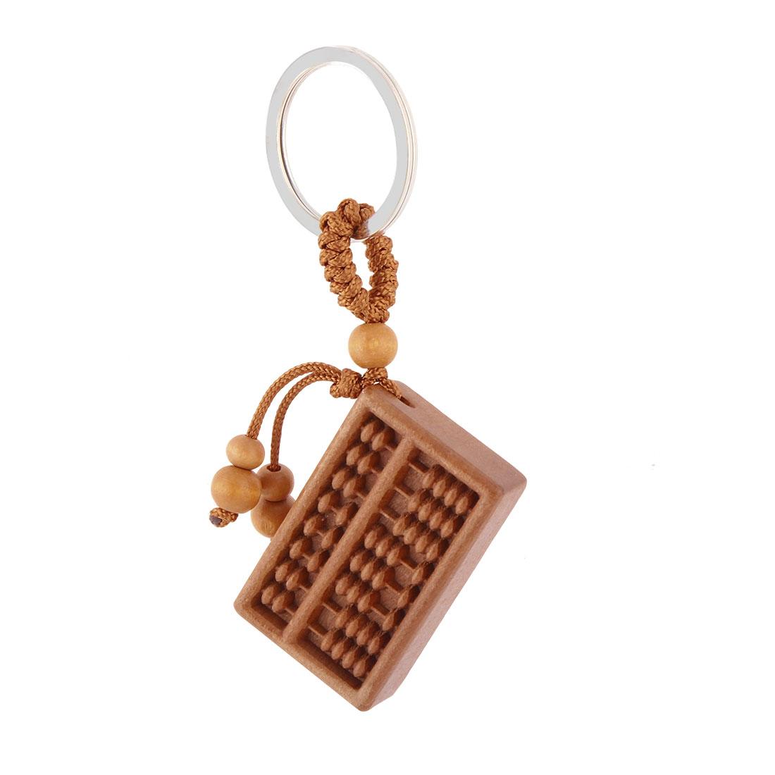 Wooden Rectangle Shaped Pendant Split Ring Keyring Handbag Purse Ornament Brown