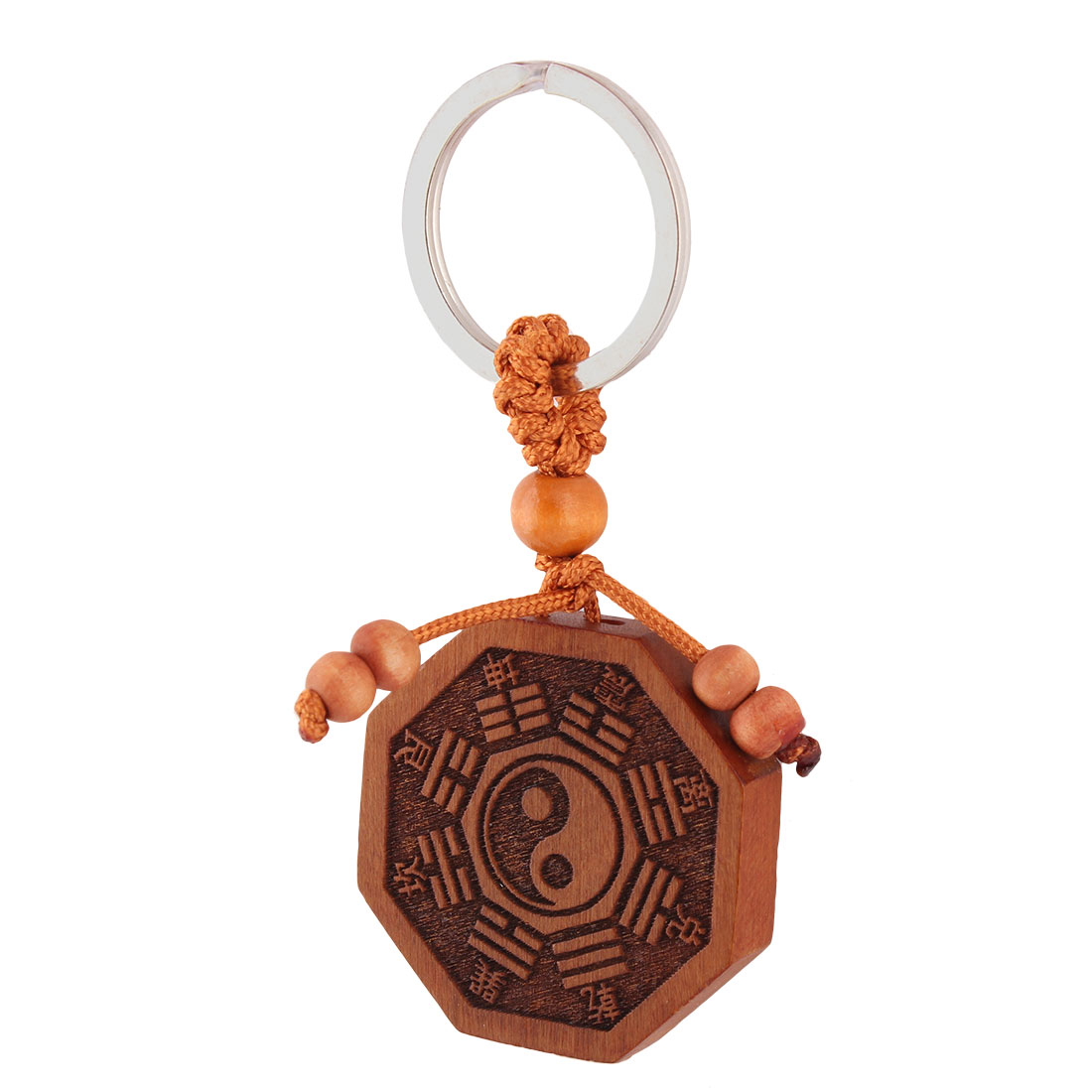 Brown Wooden Chinese Words Decor Pendant Split Ring Keyring Purse Decoration