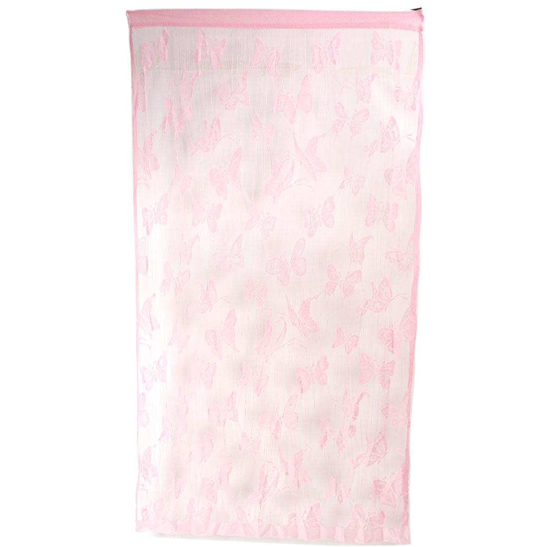 Household Nylon Butterfly Line Pattern Divider Tassel String Door Window Curtain Pink