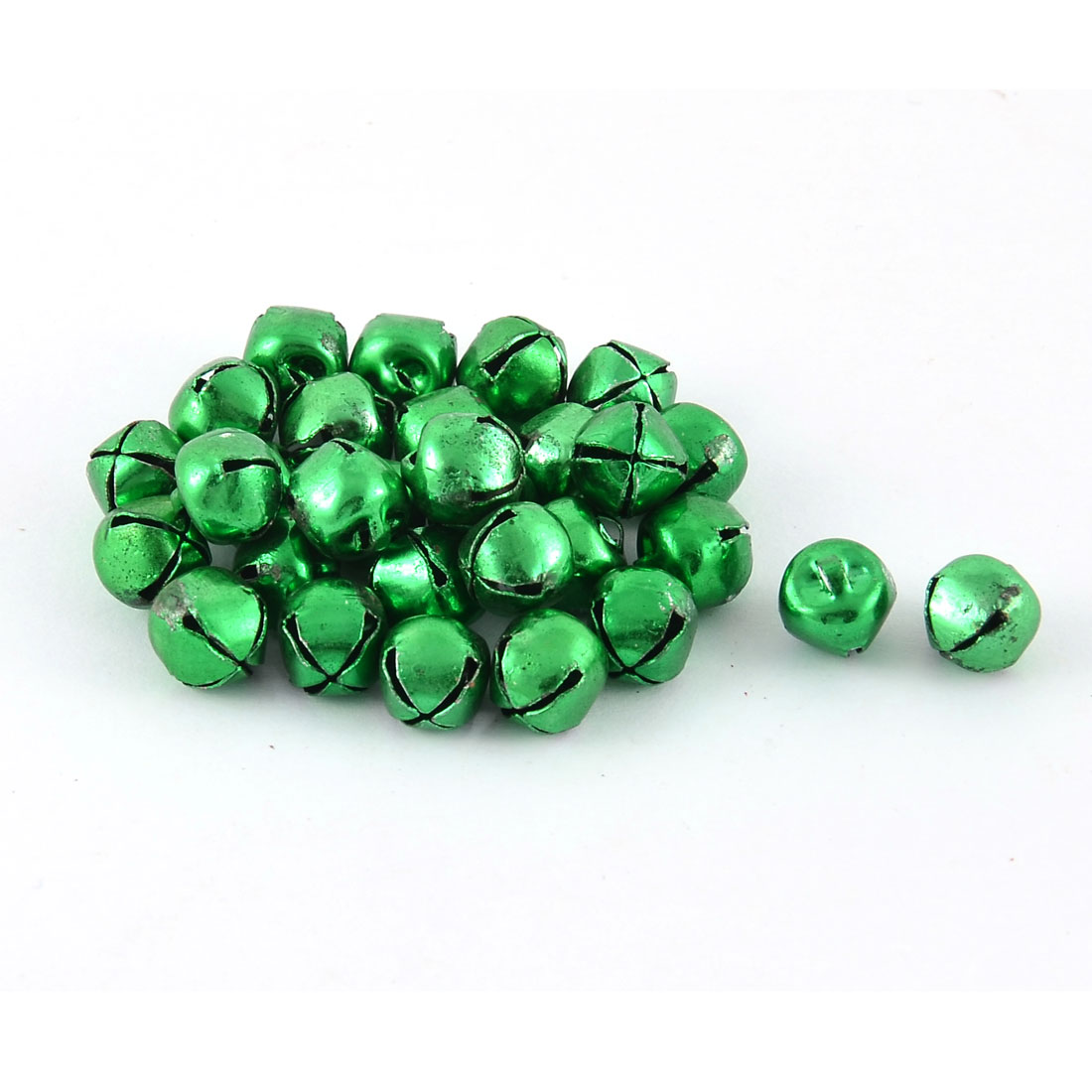 Tree Hanging Decoration Metal Round Shape Mini Christmas Bells Green 30 Pcs