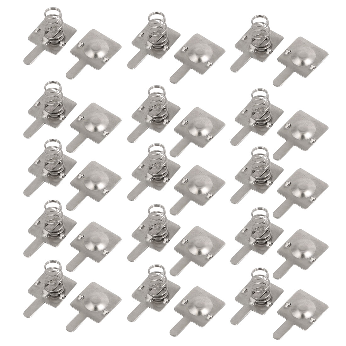 15 Pcs Metal AA Battery Spring Contacting Plate Silver Tone