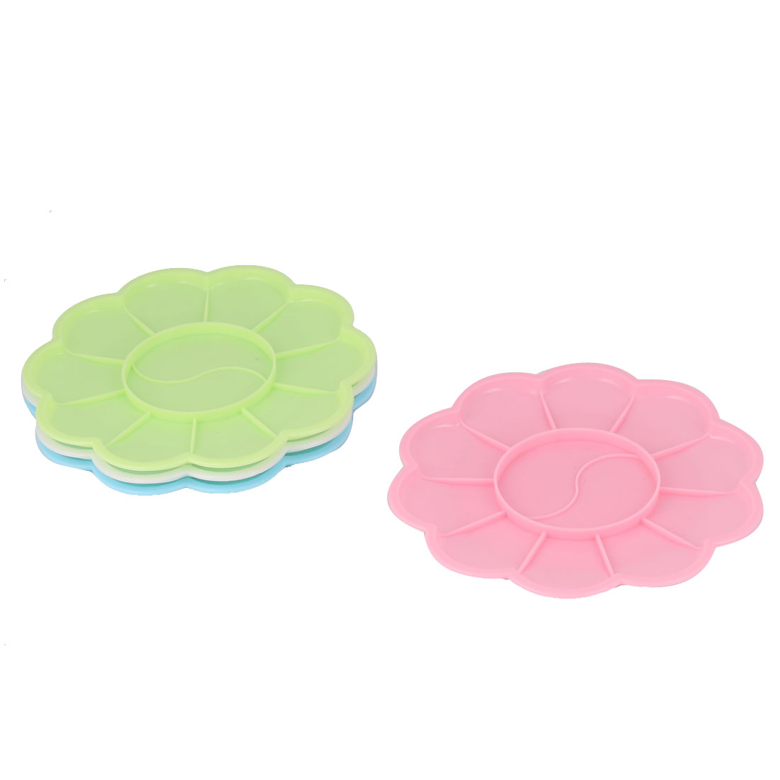 Plastic 12 Compartments Artist Paint Painting Mixing Palette Plate Tray Assorted Color 4 Pcs