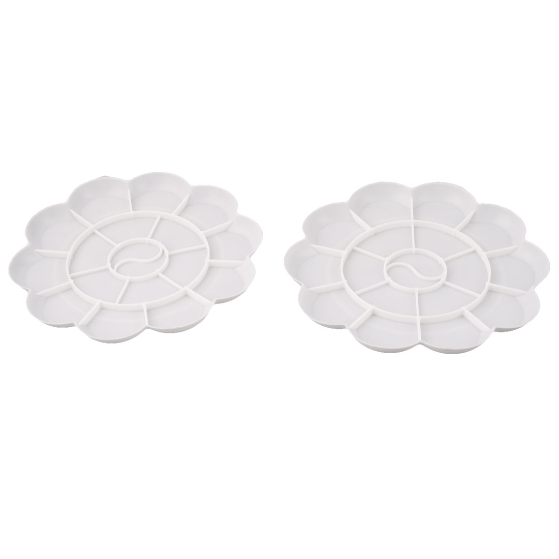Plastic 18 Compartment Artist Paint Painting Mixing Palette Plate Tray White 2 Pcs