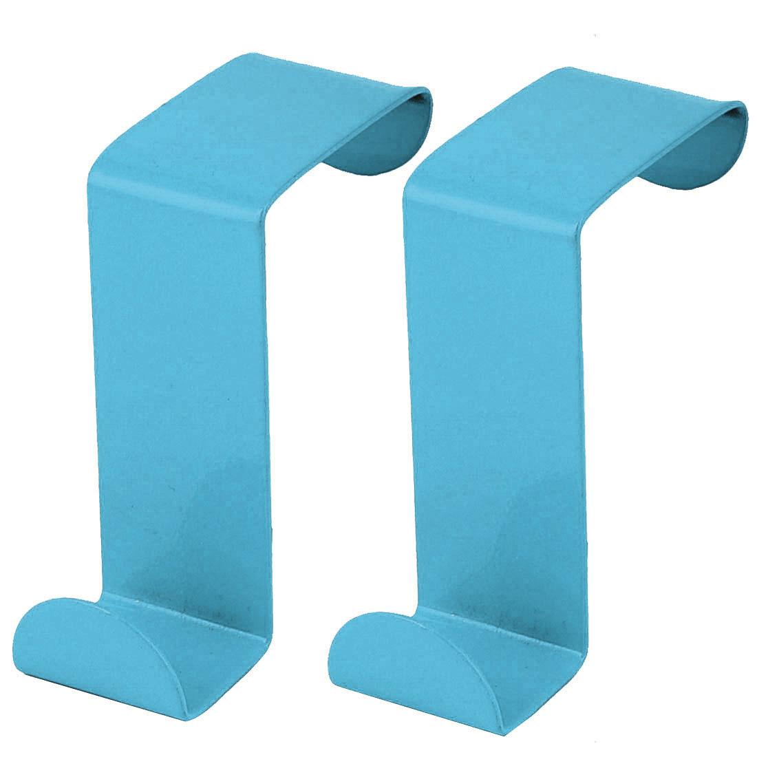 Household Metal Z Shaped Over Door Hooks Clothes Towel Hanger Holder Blue 2 Pcs