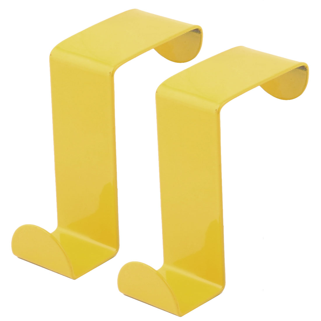 Household Metal Z Shaped Over Door Hooks Clothes Towel Hanger Holder Yellow 2 Pcs