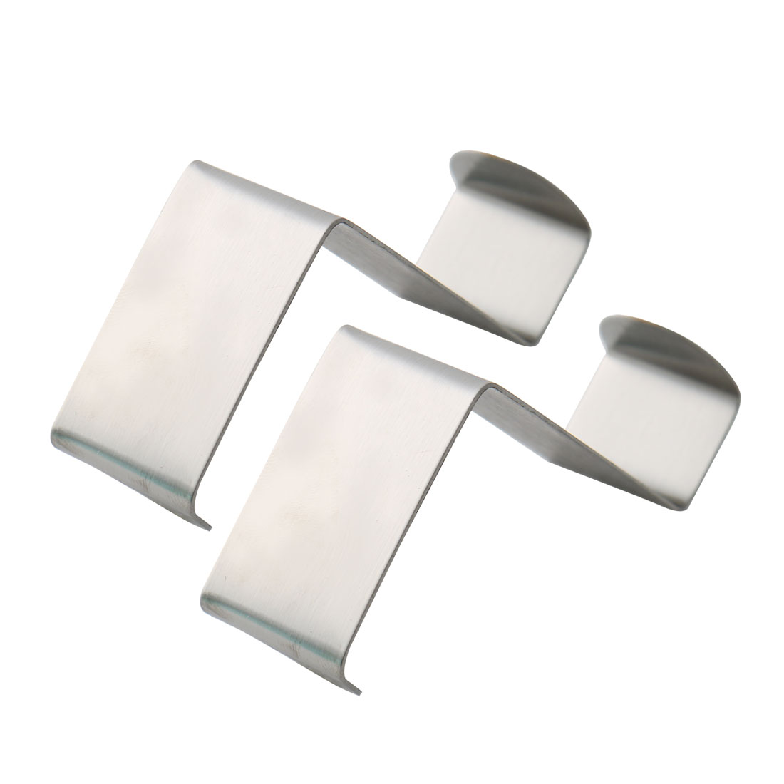 Household Metal Z Shaped Over Door Hooks Clothes Towel Hanger Holder Silver Tone 2 Pcs