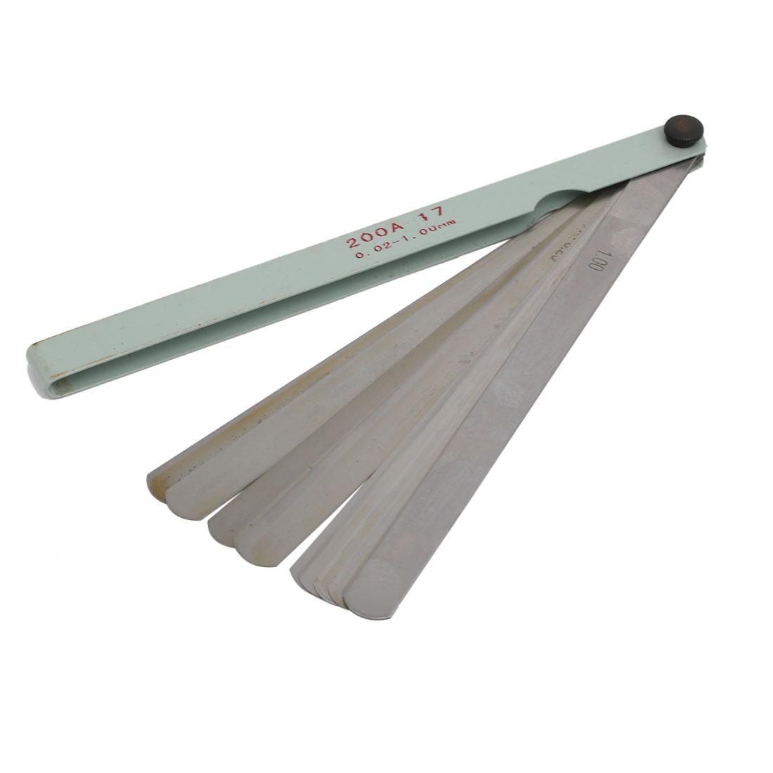 20.5cm Length 0.02-1.00mm Thickness Metal 17 Leave Measuring Tool Filler Gauge