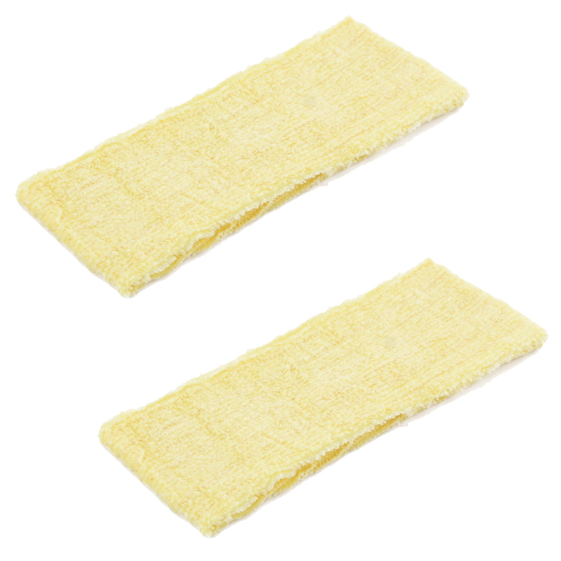 Household Bathroom Exercise Yoga Cotton Washing Headband Hair Band Wrap Yellow 2pcs
