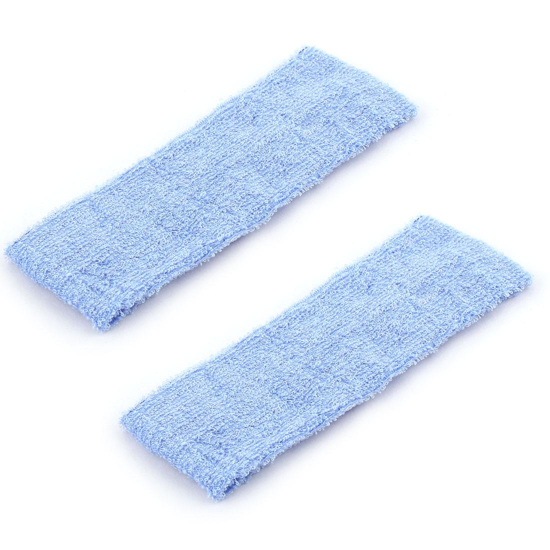 Household Bathroom Exercise Yoga Cotton Washing Headband Hair Band Wrap Light Blue 2pcs
