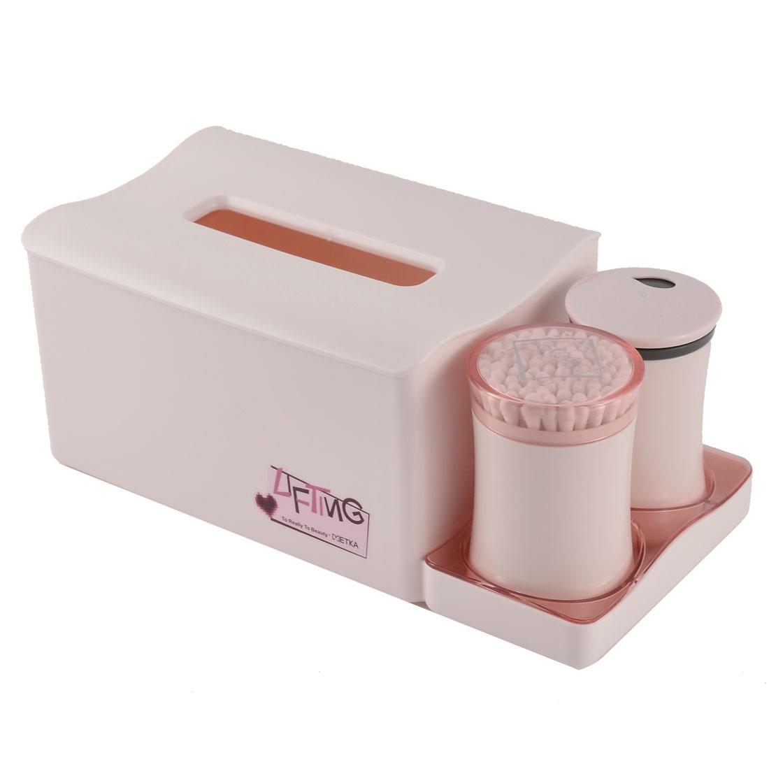 Home Office Dresser Plastic Organizer Holder Toothpicks Cotton Swabs Tissue Box Set Pink