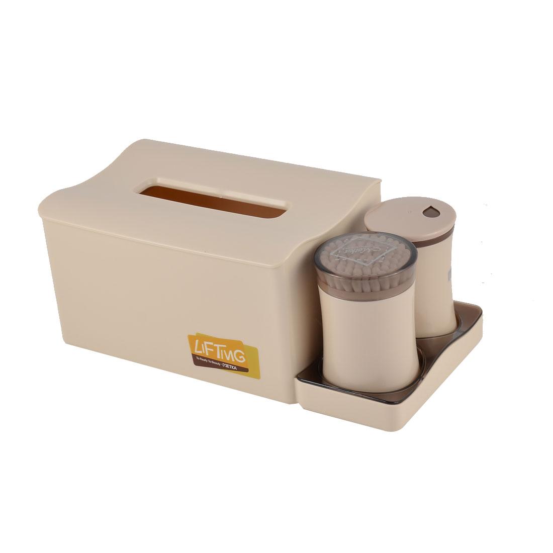 Home Office Dresser Plastic Organizer Holder Toothpicks Cotton Swabs Tissue Box Set Khaki